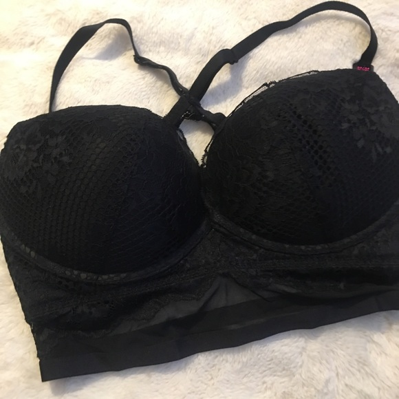 BLACK LACE/SHEER MESH BRA